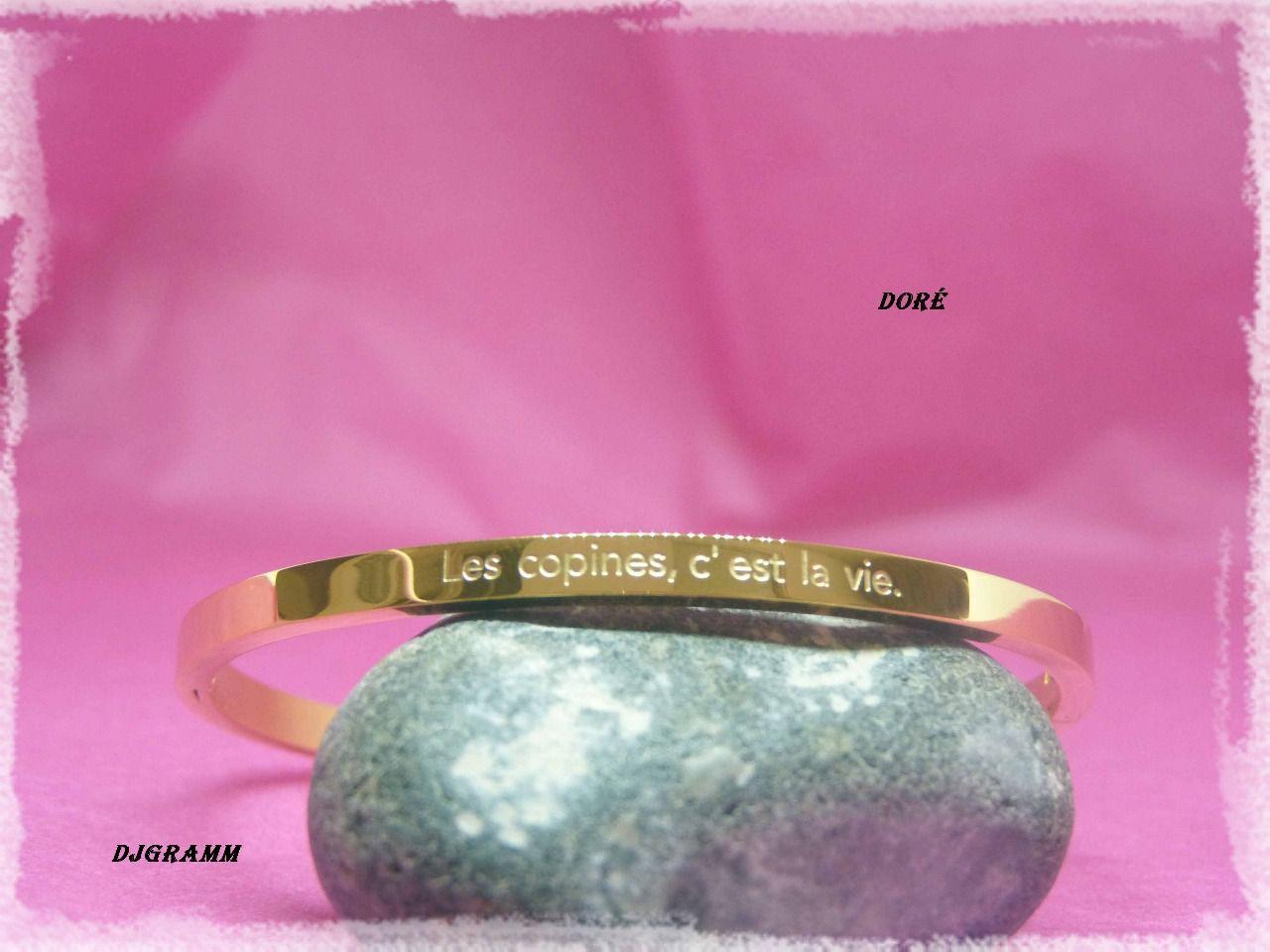 Bracelet Acier Grave Message Les Copines C Est La Vie Bijoux