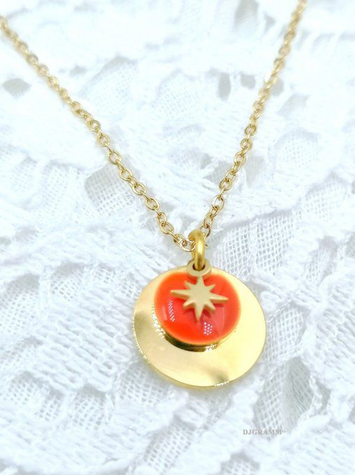 BIJOU-acier-collier-etile-rouge-orange